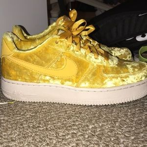 yellow velvet nike air force 1